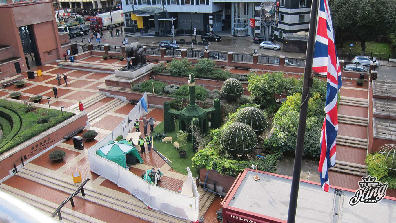 Artificial grass installed at the british library London by Turf King