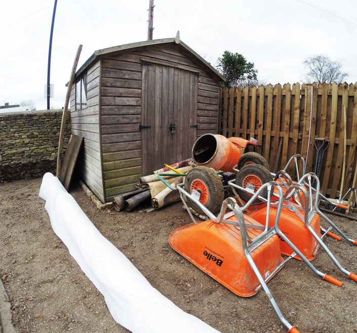 Belle warrior wheelbarrows and cement mixer in Marshfield, Wilts