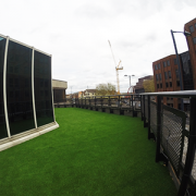 A picture of an artificial grass installation at a hotel in Bristol