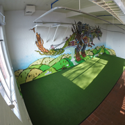 artificial grass installed in an office by Turf King